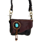 Small Handmade Cowhide Leather Crossbody Bag with Stone