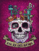 Dia De Los Gatos by David Lozeau Canvas Giclee Day of the Dead Cats Sugar Skull