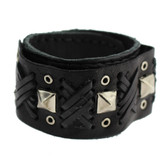 Black Cuff Genuine Leather Bracelet with Metal Stud Detail