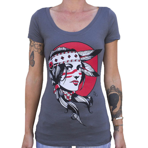 Indian Girl by Brian Kelly Women's Tee Shirt Native American Woman