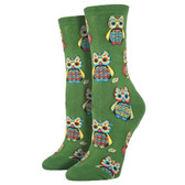 Socksmith Women's Crew Socks Hoot Owl Parrot Green