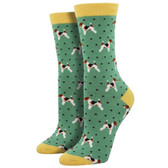 Women's Bamboo Crew Socks Terriers Puppy Dogs Green