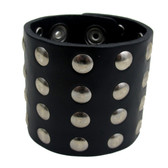 Black riveted leather cuff bracelet.