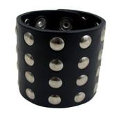 Black riveted leather cuff bracelet.