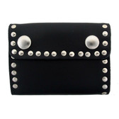 Black studded leather wallet.