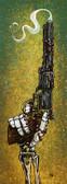 Lead By God by David Lozeau Canvas Giclee Art Print Skeleton Hand Revolver Gun