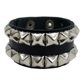 Black pyramid studded leather cuff bracelet.