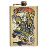 Shawn Dickinson Firewater Skull Three Amigos Stainless Steel Flask