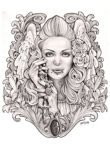 Praying Angel by Jamie Mouse Lopez Fine Tattoo Art Print Black and White