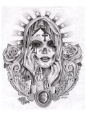 Santa Muerte by Jamie Mouse Lopez Fine Tattoo Art Print Black and White Day of the Dead Sugar Skull