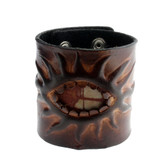 Thick Brown Leather Cuff Bracelet Wristband with Jasper Stone