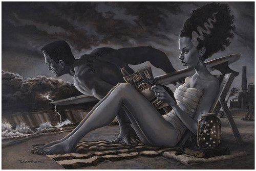 The Bathers Monster Bride of Frankenstein by Damian Fulton Fine Tattoo Art Print