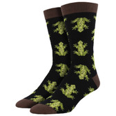 Men's Bamboo Crew Socks Green Frogs Black