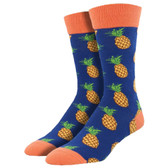 Men's Crew Socks Many Pineapples Fruit Navy Blue