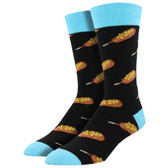 Men's Crew Socks Corndog Hot Dogs Black