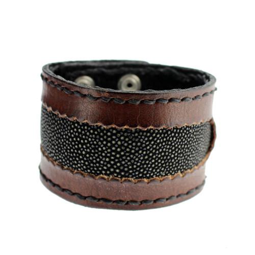 Brown Cuff Genuine Leather Bracelet Black Stingray Inlay