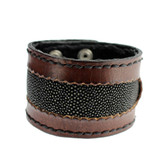 Brown Cuff Genuine Leather Bracelet Black Stingray Inlay
