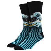 Men's Bamboo Crew Socks Mount Fuji The Great Wave Black