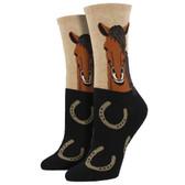 Women's Crew Socks Horse Portrait Horseshoes Hemp Brown