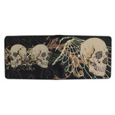 Men's Bi-Fold Wallet Die Hard Skull and Wings