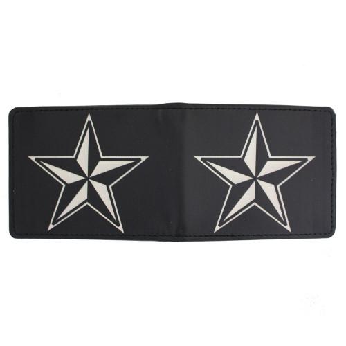 Men's Bi-Fold Black Wallet Nautical Star