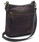 Medium Black Purple The Anna Crossbody Purse Faux Leather Stonewashed Bag