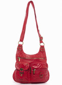 Medium Red The Aria Crossbody Purse Faux Leather Stonewashed Bag
