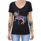 Carousel Horse by Adi Women's Tattoo Art Tee Shirt Merry Go Round Pony