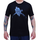 Rock n Roll Monster by Mike Bell Men's Black Tattoo Tee Shirt Frankenstein Guitar