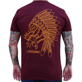 Wolf Spirit Indian Headdress by Josh Persons Men's Maroon Red Tattoo Tee Shirt
