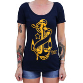 Anchor by Tennessee Dave James Women's Tattoo Art Tee Shirt Nautical