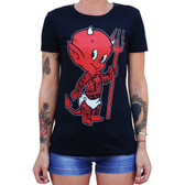 Lil Devil by Adi Women's Tattoo Art Tee Shirt Tattooed Baby Satan