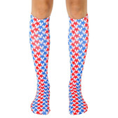 Men's or Women's Knee High Socks USA Stars Red White and Blue