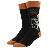 Men's Crew Socks Death Before Decaf Coffee Drinking Skeleton Skull Black