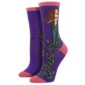 Women's Crew Socks Mermaid Sea Goddess Purple