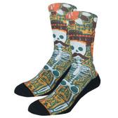 Men's Crew Socks Senor Bones Day of the Dead Mustache Skeleton