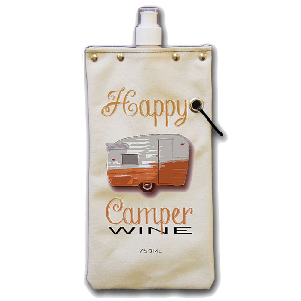 Happy Camper Wine Bottle Canvas Canteen Flask Travel