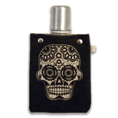 Sugar Skull 4oz Canvas Canteen Flask Travel Beverage Container