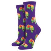 Women's Crew Socks Couple of Love Birds Parrots Purple