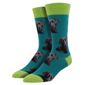 Men's Crew Socks Lab or of Love Black Labrador Puppy Dog Teal Blue