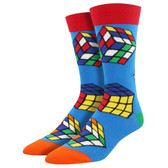 Men's Crew Socks Rubik's Cube Classic Puzzle Game Blue