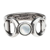 Alchemy Gothic Crescent Moon Triple Goddess Pewter Ring R219
