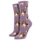 Women's Crew Socks Nothing But A Hound Dog Basset Hounds Puppy Lavender Purple