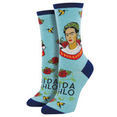Women's Crew Socks Viva La Frida Kahlo Sky Blue