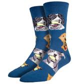 Men's Crew Socks Ball Dog Blue