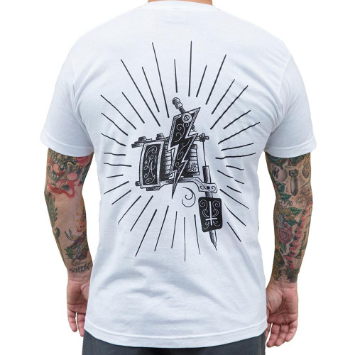Machine by Lucky Aki Men's White Tee Shirt Tattoo Art Gun