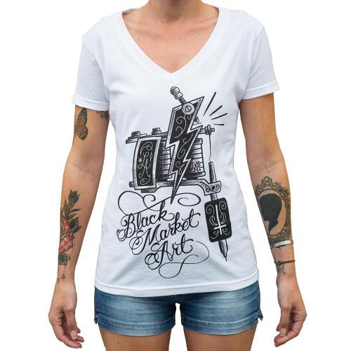 Machine by Lucky Aki Women's White V-Neck Tee Shirt Tattoo Art Gun