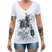 Machine by Lucky Aki Women's White V-Neck Tee Shirt Tattoo Art Gun
