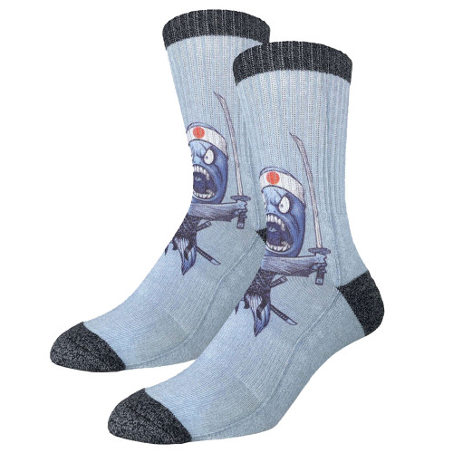 Men's Crew Socks Samurai Sushi Ninja Fish Active Footwear