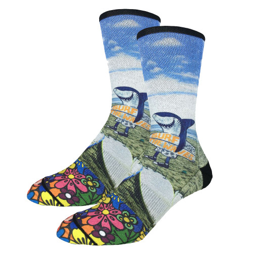 Men's Crew Socks Surfing Shark On The Beach Active Footwear